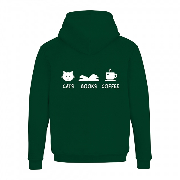 "Hoodie ""Cats Books Coffee"""